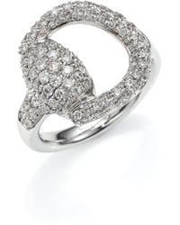 Gucci   Horsebit Pavé Diamond & 18k White Gold Ring   Lyst