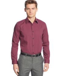 Calvin Klein Mini-check Poplin Non-iron Shirt - Lyst