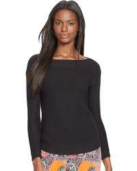 Ralph Lauren Cotton Boatneck Sweater - Lyst