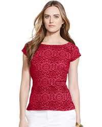 Lauren by Ralph Lauren Printed Short-Sleeve Top - Lyst