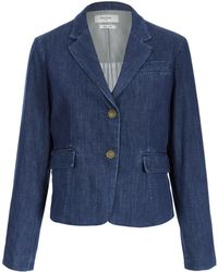 Paul by Paul Smith Navy Denim Two Button Jacket - Blue