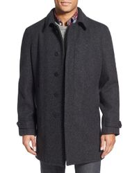 Schott nyc Wool Raglan Car Coat in Gray for Men | Lyst
