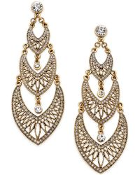 ABS By Allen Schwartz - Gold-tone Filigree Crystal Drop Earrings - Lyst