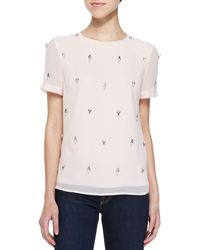 Ted Baker Whitnee Short-sleeve Top W Embellished Front - Lyst