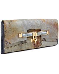 Kara Ross Lux Box Clutch Handbag In Patagonia Marble With Black Selenite - Lyst