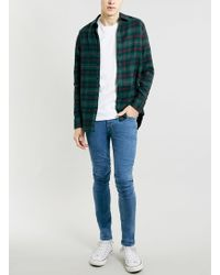 Topman Green Check Long Sleeve Flannel Shirt - Lyst