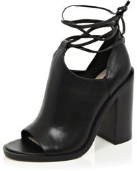 River Island Black Leather Peep Toe Lace-up Boots
