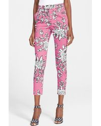 RED Valentino Print Stretch Cotton Pique Slim Ankle Pants - Lyst