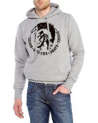 Diesel Grey Scentyn Hooded Sweatshirt - Lyst
