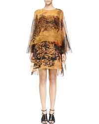 Lanvin Printed Organza Double Layer Dress - Lyst