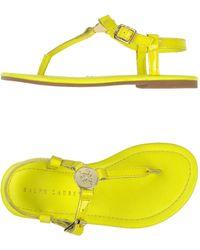 Ralph Lauren Yellow Thong Sandal - Lyst
