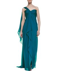 Notte by Marchesa Oneshoulder Chiffon Gown Peacock - Lyst