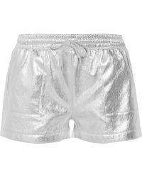 Norma Kamali Metallic Cotton-blend Shorts