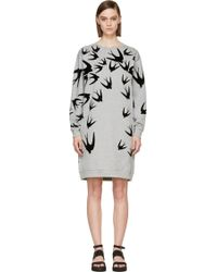 McQ by Alexander McQueen Grey Velvet Swallow Sweatshirt Dress - Lyst
