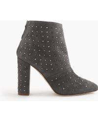 J.Crew Adele Crystal Suede Boots - Gray