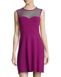 RED Valentino Illusion Sleeveless Fit-And-Flare Dress - Lyst