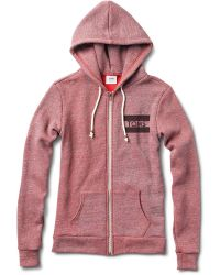 TOMS - Womens Reverse Heather Brick Red Dyed Fleece Zip Up Hoodie - Lyst