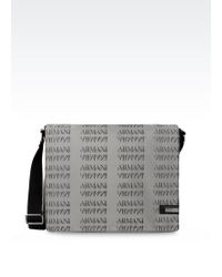Armani Messenger Bag In Branded Fabric - Lyst