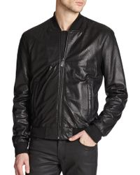 Versace Python-Esque Leather Bomber Jacket black - Lyst