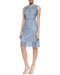 Elie Tahari Ophelia Sleeveless Lace Overlay Dress - Lyst