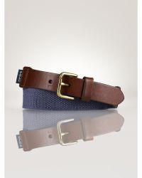 Ralph Lauren Webbed Cotton And Leather Belt - Lyst