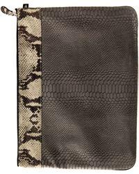 Newbark Small Pouch In Beige Snake Clutch gray - Lyst