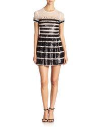 BCBGMAXAZRIA Sequin-Stripe Lace Dress - Lyst
