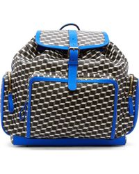Pierre Hardy Grey And Blue Leather Cube Print Ractangular Rucksack - Lyst