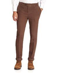 Brunello Cucinelli Linen Trousers - Lyst