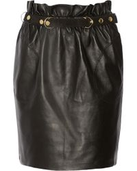Adam Lippes Belted Leather Mini Skirt - Lyst
