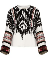 Emilio Pucci Embellished Flocked Twill Jacket - Lyst