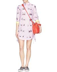 Anna K - Eye Print Contrast Cuff Poplin Dress - Lyst