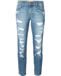 Current/Elliott Loose-fit Slim Cropped Stretch-denim Jeans - Lyst