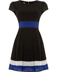 Wal-g Colour Block Waist and Hem Fit and Flare Dress - Lyst