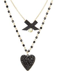 Betsey Johnson Iconic Glitter Heart Two-Row Necklace - Lyst