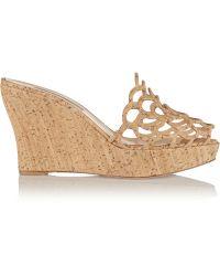 Oscar de la Renta Virma Cork Wedge Sandals - Natural