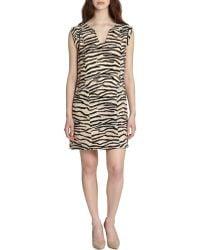 Rebecca Taylor Printed Split Neck Shift Dress - Lyst