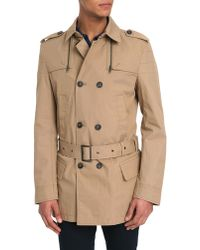 Ikks Beige Wind-Proof Double Breasted Trench - Lyst