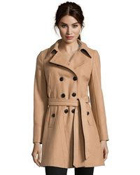 DKNY - Camel Wool Blend 'Blake' Belted 3/4 Length Trench Coat - Lyst