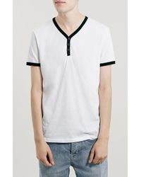 Topman Slim Fit Baseball Henley T-Shirt white - Lyst