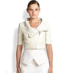 Yigal Azrouel Cropped Leather Moto Jacket - Lyst