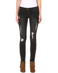 Free People Midrise Skinny Jeans Coal Miners - Lyst