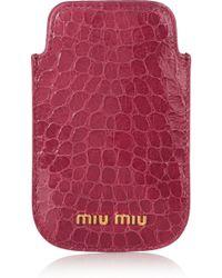 Miu Miu Croc-effect Glossed-leather Iphone 4 Sleeve - Lyst
