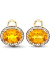 Kiki McDonough | Oval Citrine & Diamond Earring Drops | Lyst