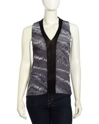 Sweet Pea By Stacy Frati A-Line Combo-Print Mesh Top - Gray