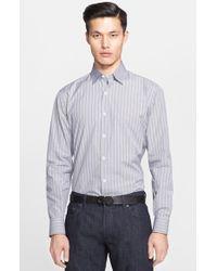 Ferragamo Trim Fit Glen Plaid Sport Shirt With Contrast Collar gray - Lyst