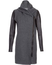 Vince Wool Coat with Leather Sleeeves - Lyst