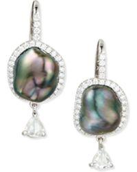 Eli Jewels - 18k White Gold Tahitian Pearl & Diamond Earrings - Lyst