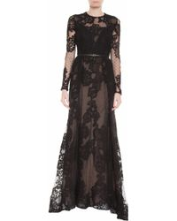 Elie Saab Dot Tulle Lace Gown - Lyst