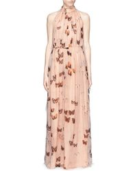 Givenchy Open Back Butterfly Print Silk Chiffon Gown - Lyst